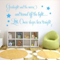 Personalised Goodnight Said the Moon Baby Boys ~ Wall sticker / decals